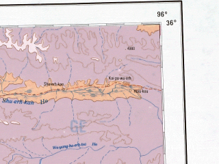 Reduced fragment of topographic map en--ams--001m--ni46--(1957)--N036-00_E090-00--N032-00_E096-00 in area of Ulan Ul-hu, Hoh Xil Hu, Xijir Ulan Hu; towns and cities Domba, Shisuzhan, Gyiza