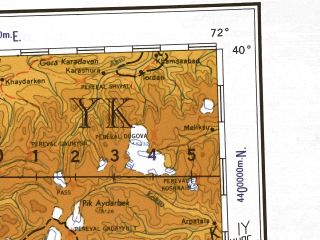 Reduced fragment of topographic map en--ams--001m--nj42--(1957)--N040-00_E066-00--N036-00_E072-00 in area of Vahs, Darya-ye Pang, Kafirnigan; towns and cities Dushanbe, Samarkand, Kulyab, Denau, Kurgan-tyube