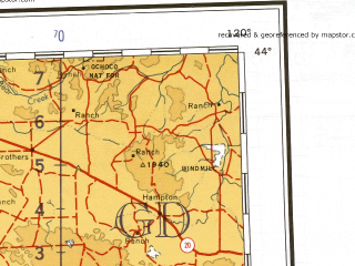 Reduced fragment of topographic map en--ams--001m--nk10--(1957)--N044-00_W126-00--N040-00_W120-00 in area of Goose Lake, Upper Klamath Lake, Klamath; towns and cities Medford, Redding, Eureka, Mckinleyville, Red Bluff