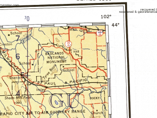 Reduced fragment of topographic map en--ams--001m--nk13--(1957)--N044-00_W108-00--N040-00_W102-00 in area of North Platte, Laramie, North Platte; towns and cities Boulder, Fort Collins, Greeley, Cheyenne, Longmont