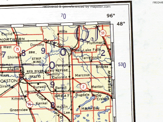 Reduced fragment of topographic map en--ams--001m--nl14--(1957)--N048-00_W102-00--N044-00_W096-00 in area of Lake Oahe, Sheyenne, Sheyenne; towns and cities Fargo, Grand Forks, Bismarck, Aberdeen, Moorhead