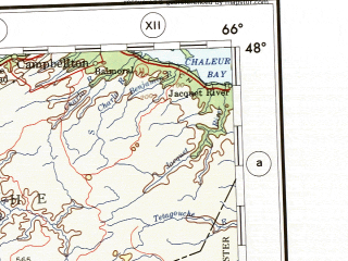 Reduced fragment of topographic map en--ams--001m--nl19--(1957)--N048-00_W072-00--N044-00_W066-00 in area of Moosehead Lake, St. John, Aroostook; towns and cities Quebec, Sherbrooke, Saint John, Fredericton, Augusta