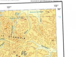 Reduced fragment of topographic map en--ams--001m--nn52--(1957)--N056-00_E126-00--N052-00_E132-00 in area of Zejskoje Vodochranilisce, Uda; towns and cities Zeya, Tygda, Ushumun, Sivaki, Smirnovka