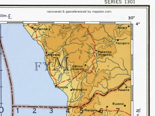 Reduced fragment of topographic map en--ams--001m--sb35--(1957)--S004-00_E024-00--S008-00_E030-00 in area of Lac Kabamba; towns and cities Kigoma, Kalemie, Lutwaie, Osenge-kolembe, Kalombo