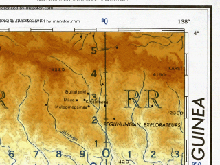 Reduced fragment of topographic map en--ams--001m--sb53--(1957)--S004-00_E132-00--S008-00_E138-00; towns and cities Rabal, Kipia Maparpa, Baraja