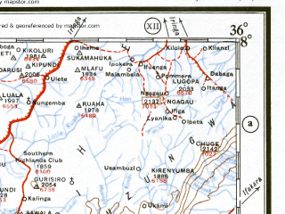 Reduced fragment of topographic map en--ams--001m--sc36-35--(1957)--S008-00_E029-30--S012-00_E036-00 in area of Lake Kampolombo; towns and cities Mzuzu, Malole, Chungu, Mpui