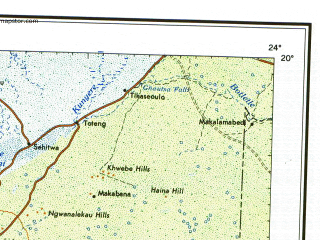 Reduced fragment of topographic map en--ams--002m--33--(1968)--S020-00_E012-00--S028-00_E024-00 in area of Kuruman, Nossob, Moshaweng; towns and cities Windhoek, Omatjette, Sukses, Klipdam