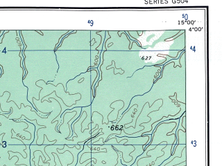 Reduced fragment of topographic map en--ams--250k--na33-02--(1956)--N004-00_E013-30--N003-00_E015-00; towns and cities Atiek, Landjwe, Ngato