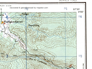 Reduced fragment of topographic map en--ams--250k--na47-01--(1956)--N004-00_E096-00--N003-00_E097-30; towns and cities Manggeng, Sikandang, Suaqbakong