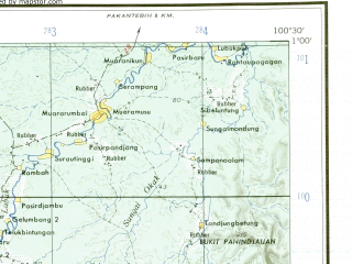 Reduced fragment of topographic map en--ams--250k--na47-15--(1956)--N001-00_E099-00--N000-00_E100-30; towns and cities Muratais, Talu, Panti