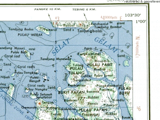 Reduced fragment of topographic map en--ams--250k--na48-13--(1956)--N001-00_E102-00--N000-00_E103-30; towns and cities Bunut, Danai, Siak Sri Indrapura