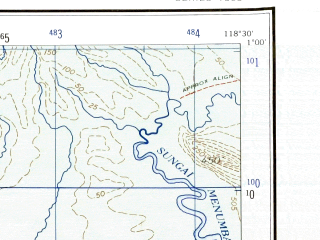 Reduced fragment of topographic map en--ams--250k--na50-15--(1956)--N001-00_E117-00--N000-00_E118-30; towns and cities Sangatte, Tepianlangsat, Kariorang
