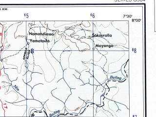 Reduced fragment of topographic map en--ams--250k--nb29-03--(1956)--N008-00_W009-00--N007-00_W007-30; towns and cities Man, Danane, Nzerekore, Yekepa, Sanniquellie