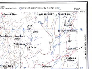 Reduced fragment of topographic map en--ams--250k--nb30-01--(1956)--N008-00_W006-00--N007-00_W004-30; towns and cities Bouake, Soukourougban, Alangouassi, Kongonou