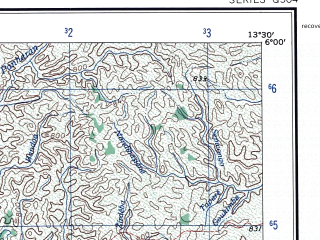 Reduced fragment of topographic map en--ams--250k--nb33-09--(1956)--N006-00_E012-00--N005-00_E013-30; towns and cities Metep, Bougere, Makouri