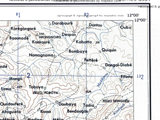 Reduced fragment of topographic map en--ams--250k--nc28-04--(1956)--N012-00_W013-30--N011-00_W012-00; towns and cities Labe, Pita, Kambala, Keneba, Lelouma