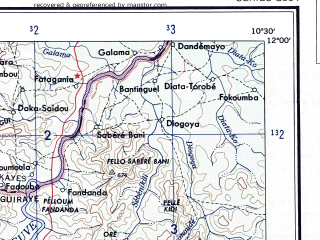 Reduced fragment of topographic map en--ams--250k--nc29-01--(1956)--N012-00_W012-00--N011-00_W010-30; towns and cities Tougue, Dinguiraye, Koubia, Loukoum