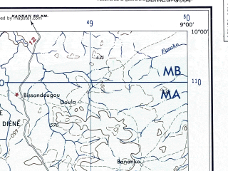 Reduced fragment of topographic map en--ams--250k--nc29-10--(1956)--N010-00_W010-30--N009-00_W009-00; towns and cities Kissidougou, Feredou, Sangardo, Firawa