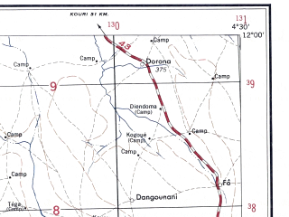 Reduced fragment of topographic map en--ams--250k--nc30-01--(1956)--N012-00_W006-00--N011-00_W004-30; towns and cities Sikasso, Dan Maissara, Lobougoula, Tiere