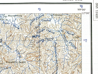 Reduced fragment of topographic map en--ams--250k--nc47-02--(1956)--N012-00_E097-26--N011-00_E099-00; towns and cities Sadeinchaungoya, Thameye, Atwin Bokpyin
