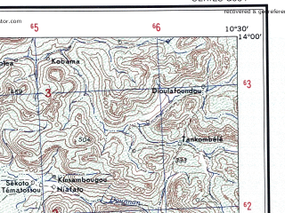 Reduced fragment of topographic map en--ams--250k--nd29-09--(1956)--N014-00_W012-00--N013-00_W010-30 in area of Faleme; towns and cities Moussala, Dinnguilou, Neguetabali