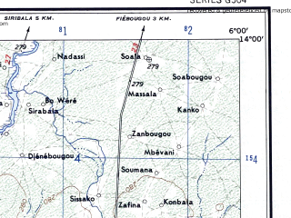 Reduced fragment of topographic map en--ams--250k--nd29-12--(1956)--N014-00_W007-30--N013-00_W006-00; towns and cities Segou, Markala, Banamba, Dionvola, Segala