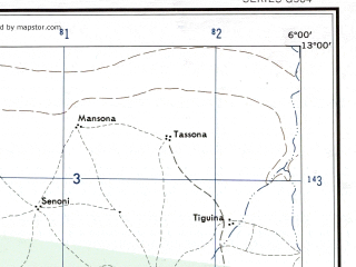 Reduced fragment of topographic map en--ams--250k--nd29-16--(1956)--N013-00_W007-30--N012-00_W006-00 in area of Bani; towns and cities Fana, Konobougou, Bao-flala, Koumankoun
