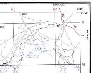 Reduced fragment of topographic map en--ams--250k--nd30-10--(1956)--N014-00_W004-30--N013-00_W003-00; towns and cities Yalankoro, Bai, Koulekonga