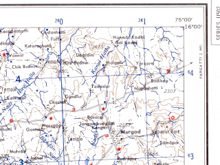 Reduced fragment of topographic map en--ams--250k--nd43-02--(1956)--N016-00_E073-27--N015-00_E075-00; towns and cities Bomanhalli, Dadvad, Poonawaddoo