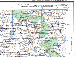 Reduced fragment of topographic map en--ams--250k--nd43-07--(1956)--N015-00_E075-00--N014-00_E076-30; towns and cities Itiki, Jagalur, Sorab