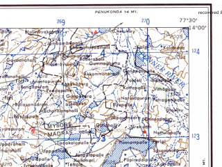 Reduced fragment of topographic map en--ams--250k--nd43-12--(1956)--N014-00_E076-00--N013-00_E077-30; towns and cities Tumkur, Hindupur, Arsikere, Madhugiri, Nelamangala