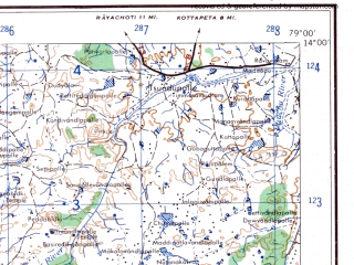 Reduced fragment of topographic map en--ams--250k--nd44-09--(1956)--N014-00_E077-30--N013-00_E079-00; towns and cities Kolar, Madanapalle, Punganuru, Sidlaghatta, Chikballapur