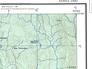 Reduced fragment of topographic map en--ams--250k--nd47-06--(1956)--N015-00_E097-30--N014-00_E099-00 in area of Heinze Chaung; towns and cities Nabule, Zadi, Kalawni