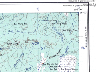 Reduced fragment of topographic map en--ams--250k--nd48-02--(1956)--N016-00_E103-30--N015-00_E105-00; towns and cities Ban Nong Kloi, Ban Nong Phu, Ban Pring