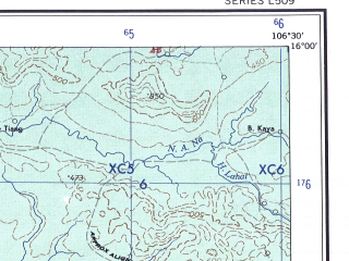 Reduced fragment of topographic map en--ams--250k--nd48-03--(1956)--N016-00_E105-00--N015-00_E106-30; towns and cities Ban Gnik, Ban Khum Kham, Ban Na Wa