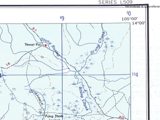 Reduced fragment of topographic map en--ams--250k--nd48-10--(1956)--N014-00_E103-30--N013-00_E105-00; towns and cities Phumi Bos, Sre Noy, Phumi Chheu Khmau
