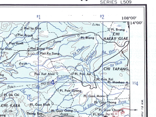 Reduced fragment of topographic map en--ams--250k--nd48-12--(1956)--N014-00_E106-30--N013-00_E108-00; towns and cities Phumi Kaoh Mayeul, Plei Doch, Plei Khoie