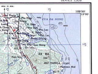 Reduced fragment of topographic map en--ams--250k--nd49-13--(1956)--N013-00_E108-00--N012-00_E109-30; towns and cities Nha Trang, Ban Thach, Buon Ma, Ninh Ma