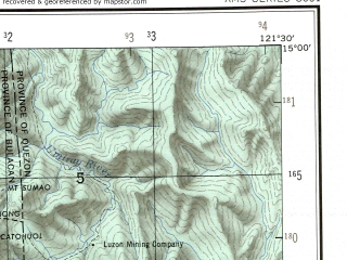 Reduced fragment of topographic map en--ams--250k--nd51-05--(1956)--N015-00_E120-00--N014-00_E121-30 in area of Manila Bay, Laguna De Bay; towns and cities Manila, Quezon, Quezon City, Caloocan, Pasay
