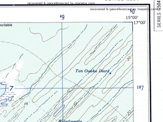 Reduced fragment of topographic map en--ams--250k--ne28-14--(1956)--N017-00_W016-35--N016-00_W015-00 in area of Lac Rkiz; towns and cities Saint-louis, Rosso, Mengueye, Niassante, Richard-toll
