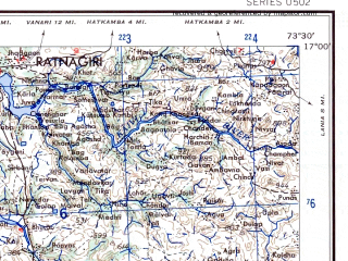 Reduced fragment of topographic map en--ams--250k--ne43-13--(1956)--N017-00_E072-00--N016-00_E073-30; towns and cities Purangad