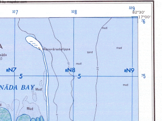 Reduced fragment of topographic map en--ams--250k--ne44-15--(1956)--N017-00_E081-00--N016-00_E082-30; towns and cities Gollapalem, Alamuru, Kadiyam