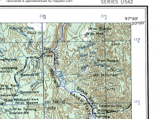 Reduced fragment of topographic map en--ams--250k--ne47-01--(1956)--N020-00_E096-00--N019-00_E097-30; towns and cities Shoko, Kyekadaw, Kyungon