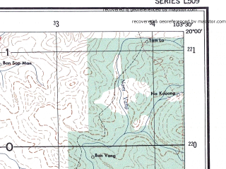 Reduced fragment of topographic map en--ams--250k--ne48-01--(1956)--N020-00_E102-00--N019-00_E103-30; towns and cities Ban Sen Done Mong, Muang Pang, Ban Dong