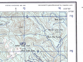Reduced fragment of topographic map en--ams--250k--ne48-05--(1956)--N019-00_E102-00--N018-00_E103-30 in area of Nam Ngum Reservoir, Nam Ngum; towns and cities Ban Nong Khay, Ban Pak Khat, Ban Houaykep Long