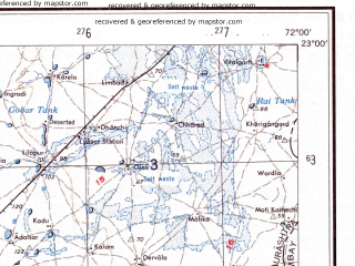 Reduced fragment of topographic map en--ams--250k--nf42-08--(1956)--N023-00_E070-30--N022-00_E072-00; towns and cities Kodh, Tankara, Lakhtar