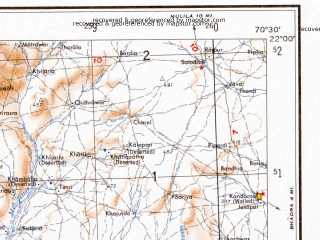 Reduced fragment of topographic map en--ams--250k--nf42-11--(1956)--N022-00_E069-00--N021-00_E070-30; towns and cities Vanthli, Kandorna, Kutiyana