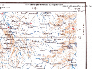 Reduced fragment of topographic map en--ams--250k--nf43-06--(1956)--N023-00_E073-30--N022-00_E075-00; towns and cities Devgadh Bariya, Kanapur, Kukshi