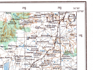 Reduced fragment of topographic map en--ams--250k--nf43-11--(1956)--N022-00_E075-00--N021-00_E076-30; towns and cities Bhatkhera, Sawda, Sendhwa
