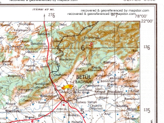 Reduced fragment of topographic map en--ams--250k--nf43-12--(1956)--N022-00_E076-30--N021-00_E078-00; towns and cities Chandur Bazar, Jalgaon, Kunkheri
